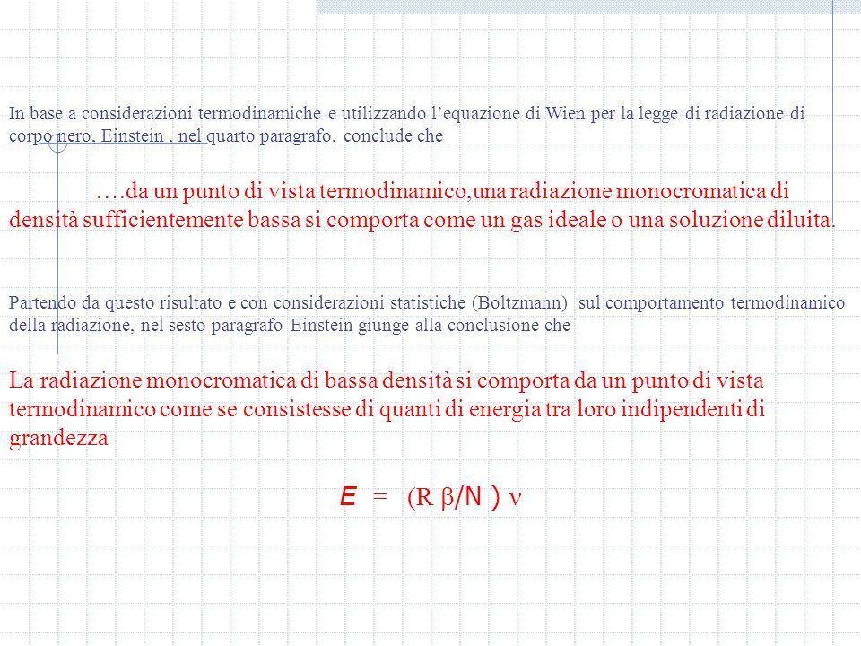 In base a considerazioni termodinamiche e utilizzando lequazione di Wien per la legge di radiazione di corpo nero, Einstein, nel quarto paragrafo, conclude che ….da un punto di vista termodinamico,una radiazione monocromatica di densità sufficientemente bassa si comporta come un gas ideale o una soluzione diluita.