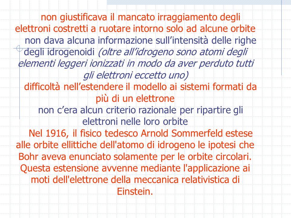 non giustificava il mancato irraggiamento degli elettroni costretti a ruotare intorno solo ad alcune orbite non dava alcuna informazione sullintensità delle righe degli idrogenoidi (oltre allidrogeno sono atomi degli elementi leggeri ionizzati in modo da aver perduto tutti gli elettroni eccetto uno) difficoltà nellestendere il modello ai sistemi formati da più di un elettrone non cera alcun criterio razionale per ripartire gli elettroni nelle loro orbite Nel 1916, il fisico tedesco Arnold Sommerfeld estese alle orbite ellittiche dell atomo di idrogeno le ipotesi che Bohr aveva enunciato solamente per le orbite circolari.