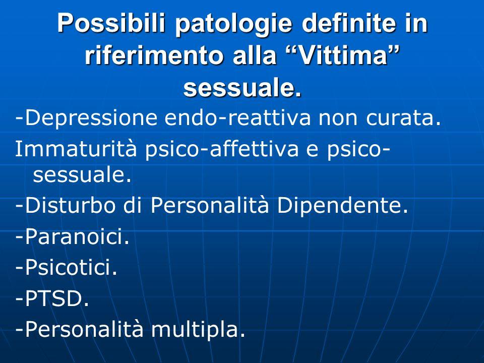 Possibili patologie definite in riferimento all Attore sessuale: Disturbo di Personalità Sindrome Bipolare Depressione maggiore compensata con tratti