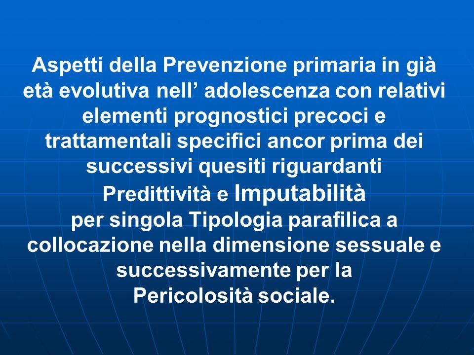 Caratteristiche del possibile Autore da motivazione sessuale (Villanova M., 2006) Patogenesi nel Disturbo di Personalità o (Personalità stato al limit