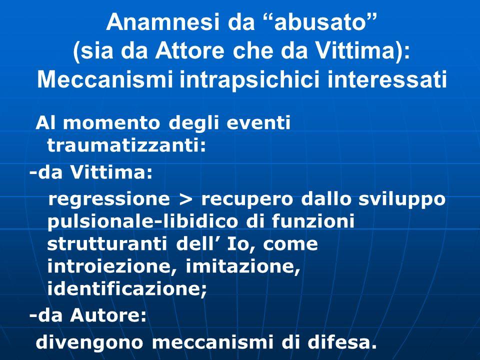 Caratteristiche della Vittima sessuale (Villanova M., 2006) Bassa autostima e fragilità dell Io; Anamnesi da abusato (fisico, psichico, sessuale, medi