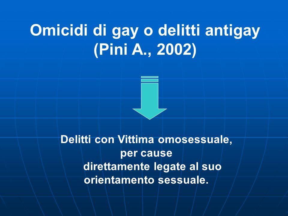 Omicidi omosessuali da Winckelmann a Versace. (Mastronardi V., Villanova M., 2003, da Pini A., 2002)