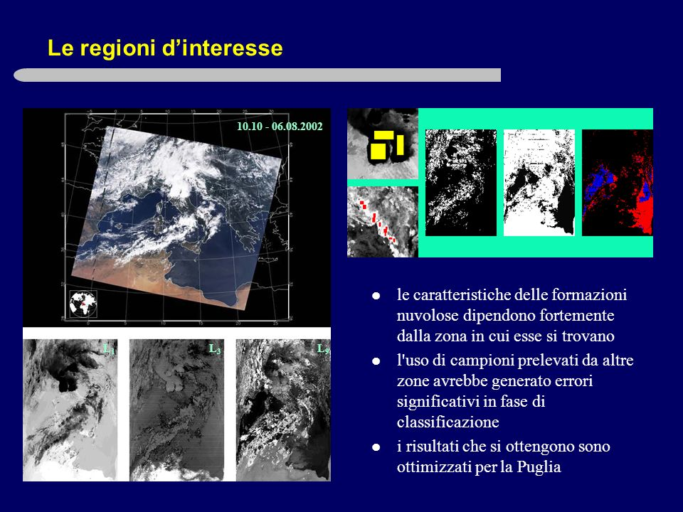 Le regioni dinteresse 10.10 - 06.08.2002 L1L1 L3L3 L9L9 le caratteristiche delle formazioni nuvolose dipendono fortemente dalla zona in cui esse si trovano l uso di campioni prelevati da altre zone avrebbe generato errori significativi in fase di classificazione i risultati che si ottengono sono ottimizzati per la Puglia