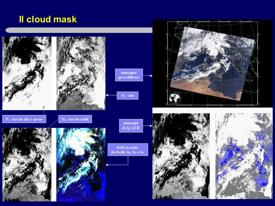 Il cloud mask immagine geocodificata F 9 - cirri immagini di Q ed R RGB invertito dei livelli G 4, G 1 e G 2 F 1 - nuvole alte e spesseG 2 - nuvole sottili