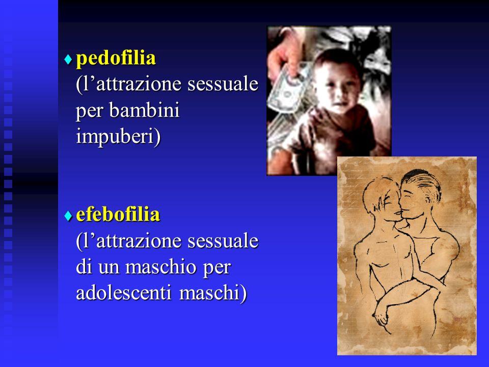 pedofilia (lattrazione sessuale per bambini impuberi) pedofilia (lattrazione sessuale per bambini impuberi) efebofilia (lattrazione sessuale di un maschio per adolescenti maschi) efebofilia (lattrazione sessuale di un maschio per adolescenti maschi)