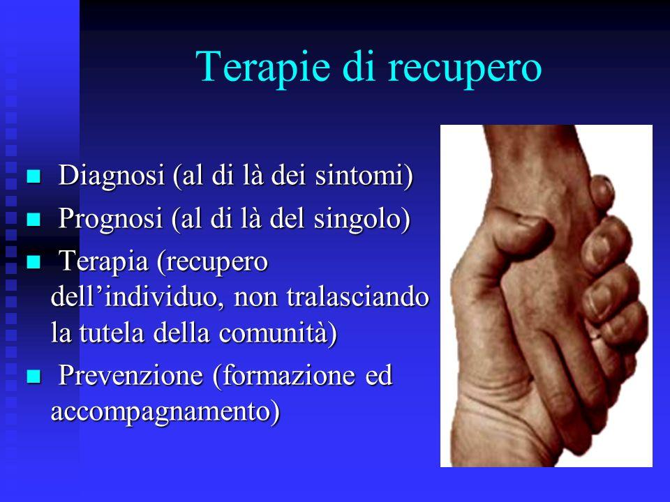 Terapie di recupero Diagnosi (al di là dei sintomi) Diagnosi (al di là dei sintomi) Prognosi (al di là del singolo) Prognosi (al di là del singolo) Terapia (recupero dellindividuo, non tralasciando la tutela della comunità) Terapia (recupero dellindividuo, non tralasciando la tutela della comunità) Prevenzione (formazione ed accompagnamento) Prevenzione (formazione ed accompagnamento)