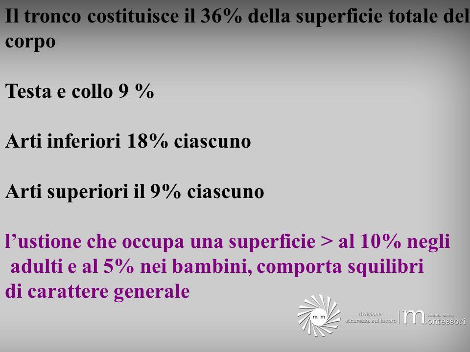 Il tronco costituisce il 36% della superficie totale del corpo Testa e collo 9 % Arti inferiori 18% ciascuno Arti superiori il 9% ciascuno lustione ch