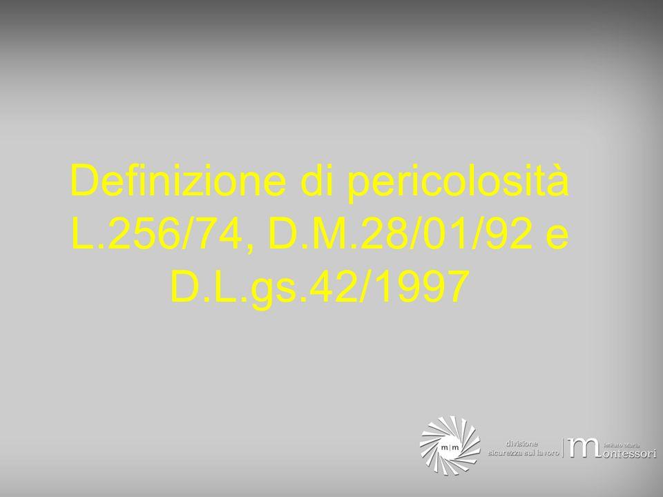 Definizione di pericolosità L.256/74, D.M.28/01/92 e D.L.gs.42/1997