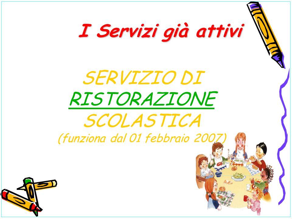 SERVIZIO DI RISTORAZIONE SCOLASTICA (funziona dal 01 febbraio 2007) RISTORAZIONE I Servizi già attivi I Servizi già attivi