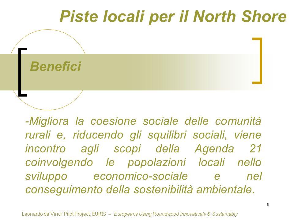 8 Piste locali per il North Shore Benefici Leonardo da Vinci Pilot Project, EURIS – Europeans Using Roundwood Innovatively & Sustainably -Migliora la coesione sociale delle comunità rurali e, riducendo gli squilibri sociali, viene incontro agli scopi della Agenda 21 coinvolgendo le popolazioni locali nello sviluppo economico-sociale e nel conseguimento della sostenibilità ambientale.