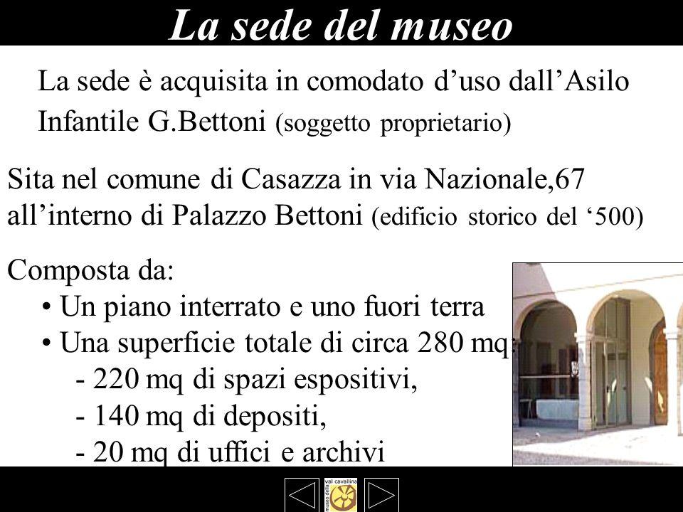 La sede del museo La sede è acquisita in comodato duso dallAsilo Infantile G.Bettoni (soggetto proprietario) Sita nel comune di Casazza in via Naziona