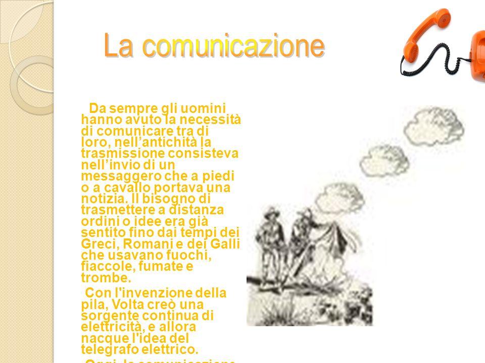 Da sempre gli uomini hanno avuto la necessità di comunicare tra di loro, nellantichità la trasmissione consisteva nellinvio di un messaggero che a pie