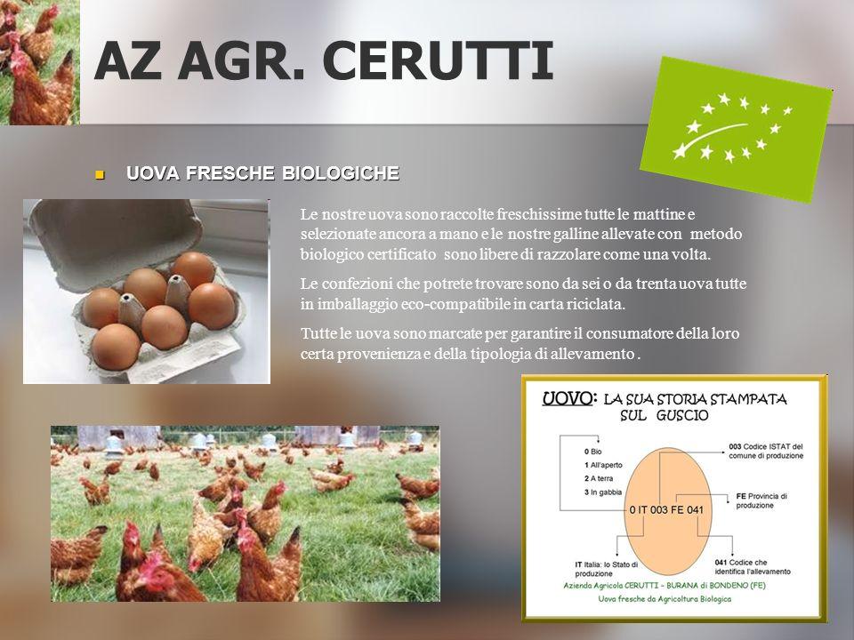 AZ AGR. CERUTTI UOVA FRESCHE BIOLOGICHE UOVA FRESCHE BIOLOGICHE Le nostre uova sono raccolte freschissime tutte le mattine e selezionate ancora a mano