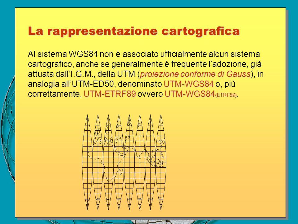 proiezione conforme di Gauss UTM-WGS84 UTM-ETRF89 UTM-WGS84 (ETRF89) Al sistema WGS84 non è associato ufficialmente alcun sistema cartografico, anche