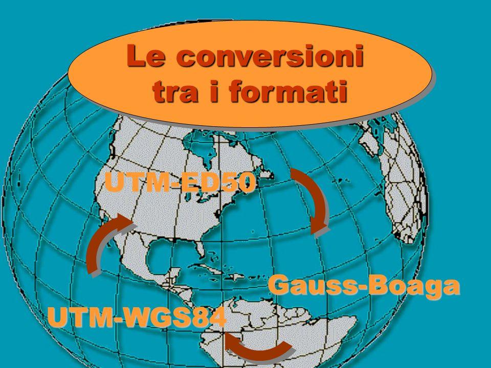 Le conversioni tra i formati Le conversioni tra i formati UTM-ED50 Gauss-Boaga UTM-WGS84