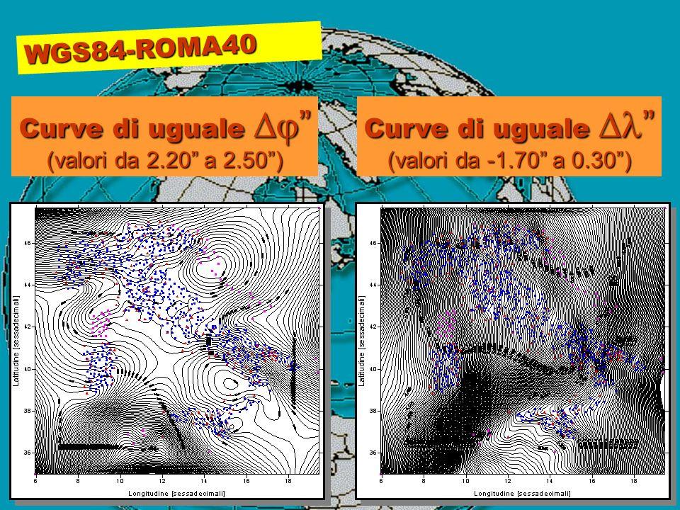 WGS84-ROMA40 Curve di uguale Curve di uguale (valori da 2.20 a 2.50) Curve di uguale Curve di uguale (valori da -1.70 a 0.30)