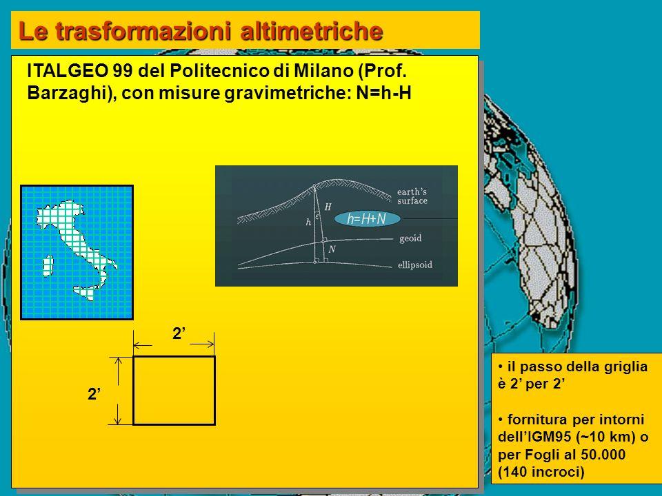 ITALGEO 99 del Politecnico di Milano (Prof. Barzaghi), con misure gravimetriche: N=h-H 2 2 Le trasformazioni altimetriche il passo della griglia è 2 p