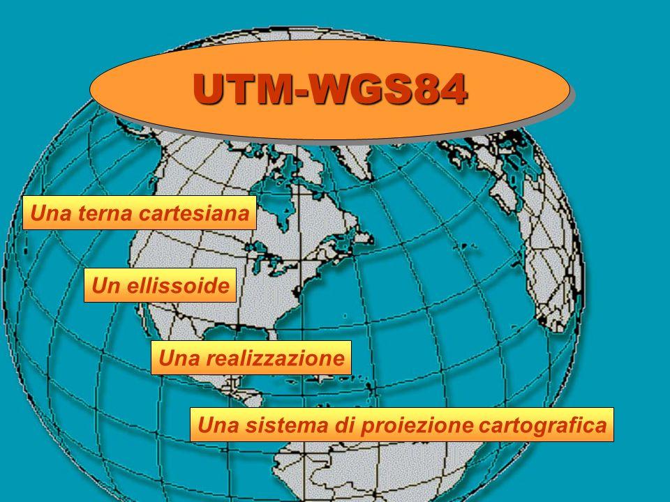 UTM-WGS84UTM-WGS84 Una terna cartesiana Una sistema di proiezione cartografica Una realizzazione Un ellissoide
