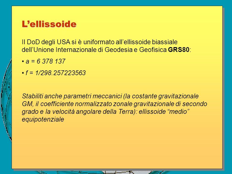 Il DoD degli USA si è uniformato allellissoide biassiale dellUnione Internazionale di Geodesia e Geofisica GRS80: a = 6 378 137 f = 1/298.257223563 St