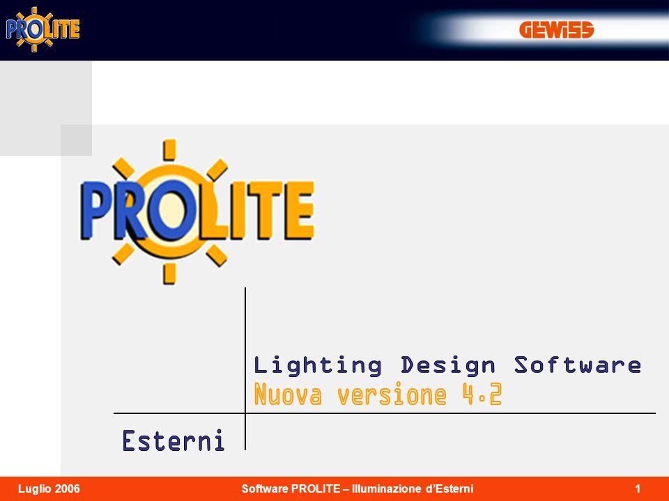 2Software PROLITE – Illuminazione dEsterniLuglio 2006 Prolite 4.2 è la nuova versione del software per la progettazione illuminotecnica di ambienti interni, aree esterne, e strade, con funzioni di visualizzazione delle tabelle, dei risultati, dei grafici e delle immagini realistiche dellambiente da diversi punti di vista.