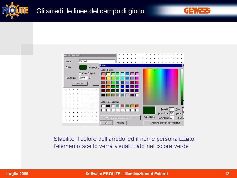 12Software PROLITE – Illuminazione dEsterniLuglio 2006 Stabilito il colore dellarredo ed il nome personalizzato, lelemento scelto verrà visualizzato nel colore verde.