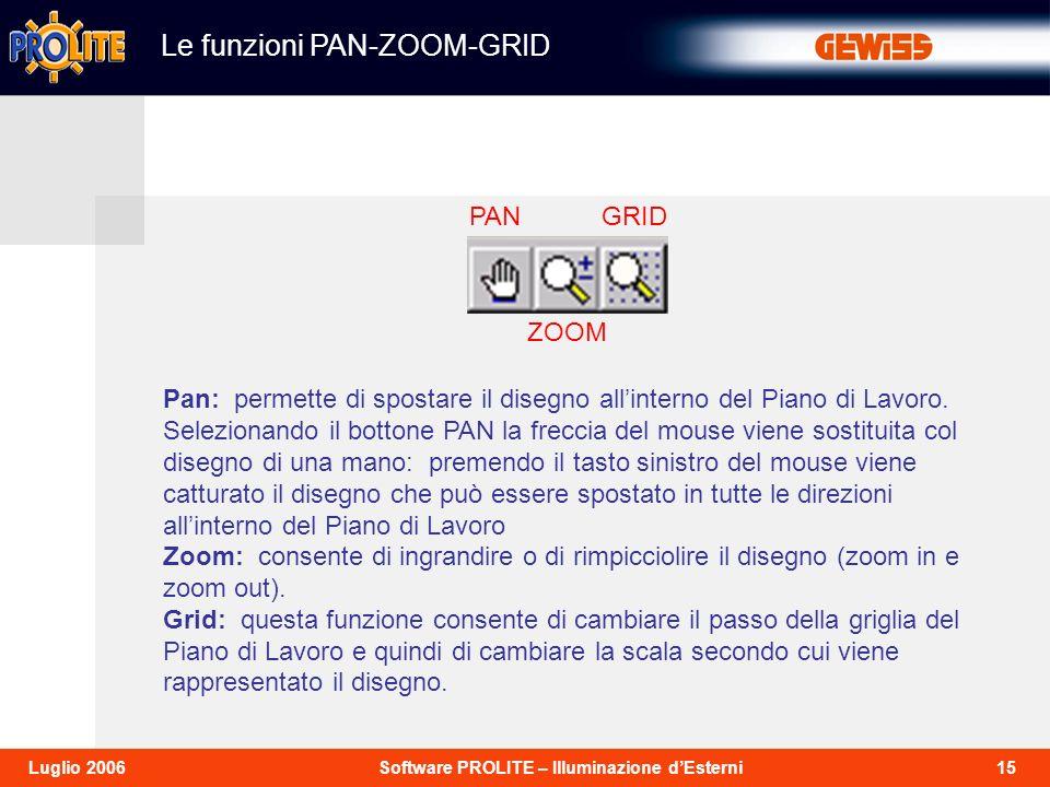 15Software PROLITE – Illuminazione dEsterniLuglio 2006 Le funzioni PAN-ZOOM-GRID Pan: permette di spostare il disegno allinterno del Piano di Lavoro.