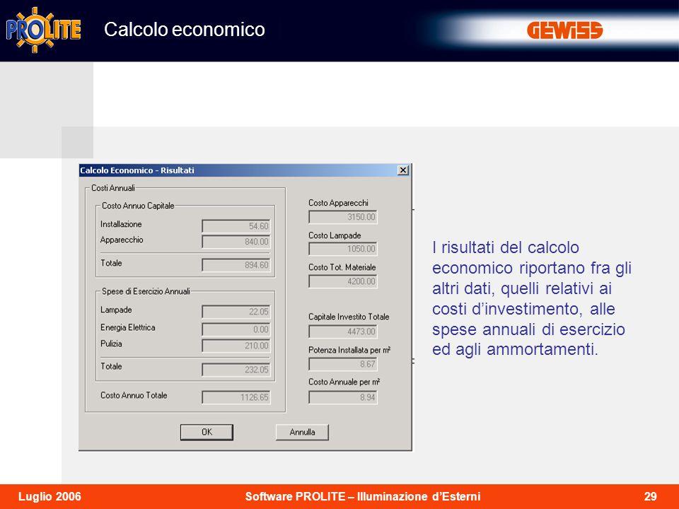 29Software PROLITE – Illuminazione dEsterniLuglio 2006 I risultati del calcolo economico riportano fra gli altri dati, quelli relativi ai costi dinvestimento, alle spese annuali di esercizio ed agli ammortamenti.