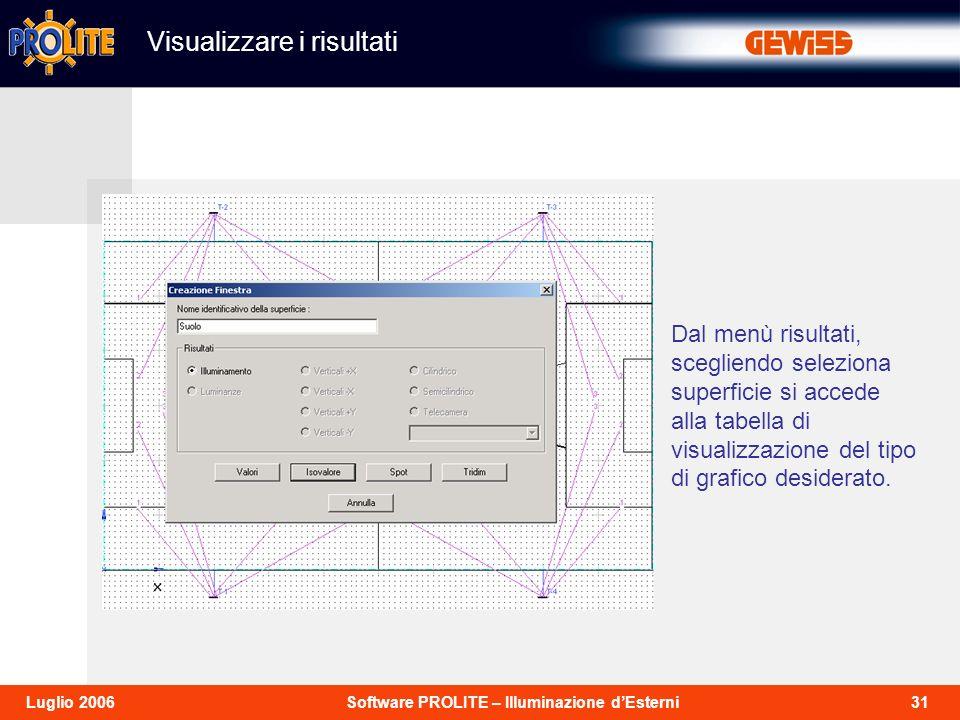 31Software PROLITE – Illuminazione dEsterniLuglio 2006 Dal menù risultati, scegliendo seleziona superficie si accede alla tabella di visualizzazione del tipo di grafico desiderato.