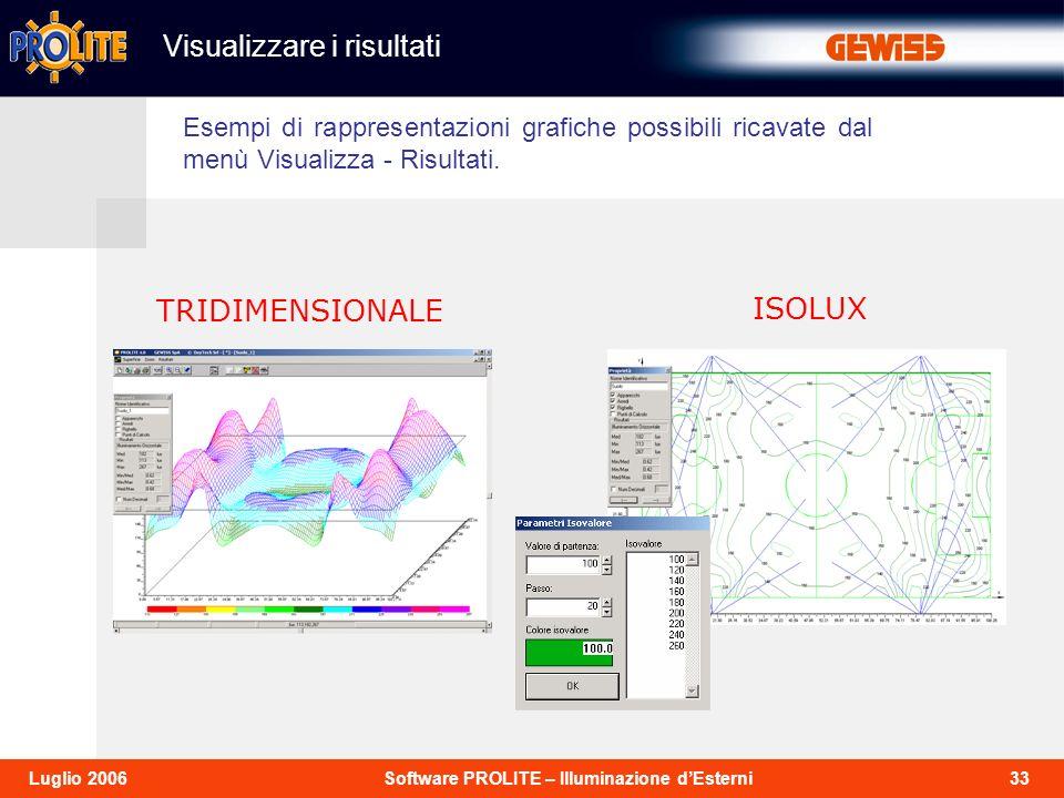 33Software PROLITE – Illuminazione dEsterniLuglio 2006 TRIDIMENSIONALE ISOLUX Esempi di rappresentazioni grafiche possibili ricavate dal menù Visualizza - Risultati.