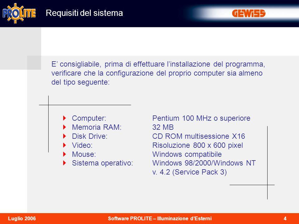 4Software PROLITE – Illuminazione dEsterniLuglio 2006 Requisiti del sistema Computer:Pentium 100 MHz o superiore Memoria RAM:32 MB Disk Drive:CD ROM multisessione X16 Video:Risoluzione 800 x 600 pixel Mouse:Windows compatibile Sistema operativo: Windows 98/2000/Windows NT v.