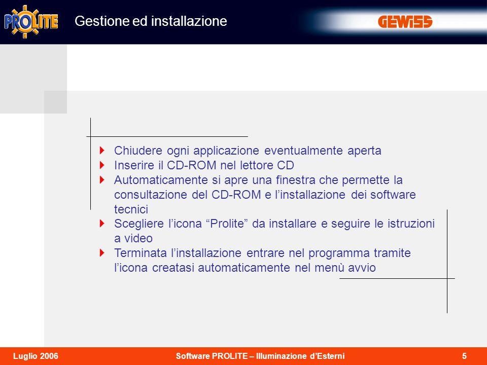 26Software PROLITE – Illuminazione dEsterniLuglio 2006 Per procedere al calcolo di verifica illuminotecnica, selezionare dal menù calcoli lopzione inizio.