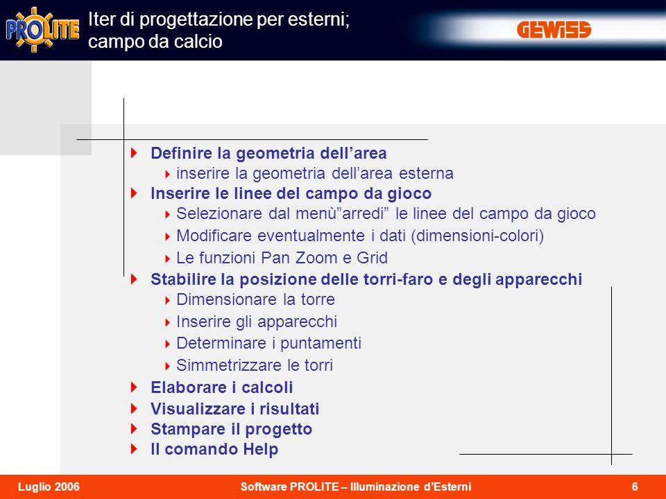 37Software PROLITE – Illuminazione dEsterniLuglio 2006 Prima di uscire dal programma è opportuno effettuare il salvataggio del progetto in corso dal menù File - Salva progetto.