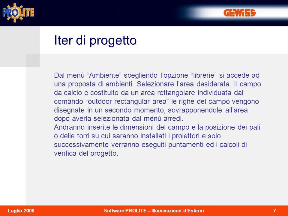 18Software PROLITE – Illuminazione dEsterniLuglio 2006 Agendo sulle lenti (comando Zoom In-Out) è possibile e consigliato ingrandire il particolare della struttura inserita.