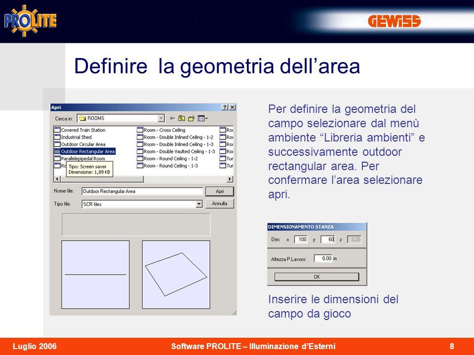 8Software PROLITE – Illuminazione dEsterniLuglio 2006 Per definire la geometria del campo selezionare dal menù ambiente Libreria ambienti e successivamente outdoor rectangular area.