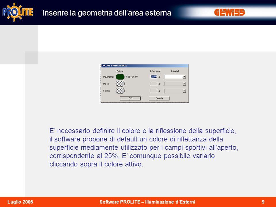 10Software PROLITE – Illuminazione dEsterniLuglio 2006 Per inserire le linee di campo selezionare arredi e successivamente aggiungi arredo, quindi scegliere la cartella sport.