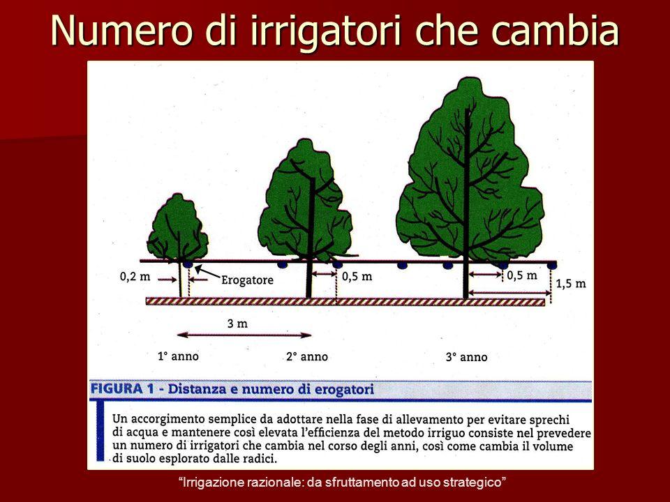 Numero di irrigatori che cambia Irrigazione razionale: da sfruttamento ad uso strategico