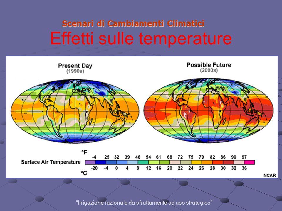 Scenari di Cambiamenti Climatici Scenari di Cambiamenti Climatici Effetti sulle temperature Irrigazione razionale da sfruttamento ad uso strategico