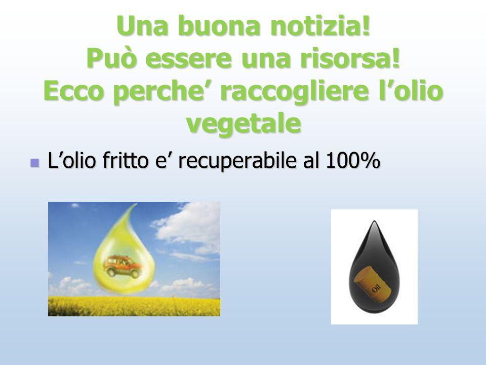 Una buona notizia! Può essere una risorsa! Ecco perche raccogliere lolio vegetale Lolio fritto e recuperabile al 100% Lolio fritto e recuperabile al 1
