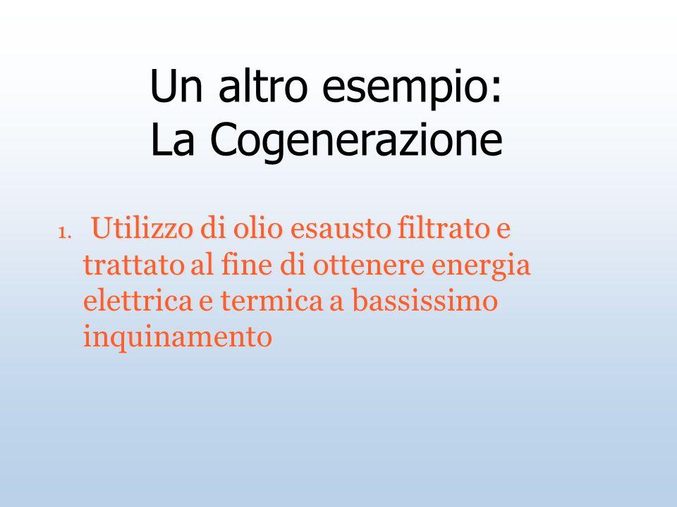 1. Utilizzo di olio esausto filtrato e trattato al fine di ottenere energia elettrica e termica a bassissimo inquinamento Un altro esempio: La Cogener