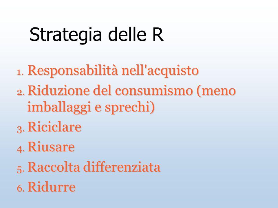 Strategia delle R 1. Responsabilità nell'acquisto 2. Riduzione del consumismo (meno imballaggi e sprechi) 3. Riciclare 4. Riusare 5. Raccolta differen