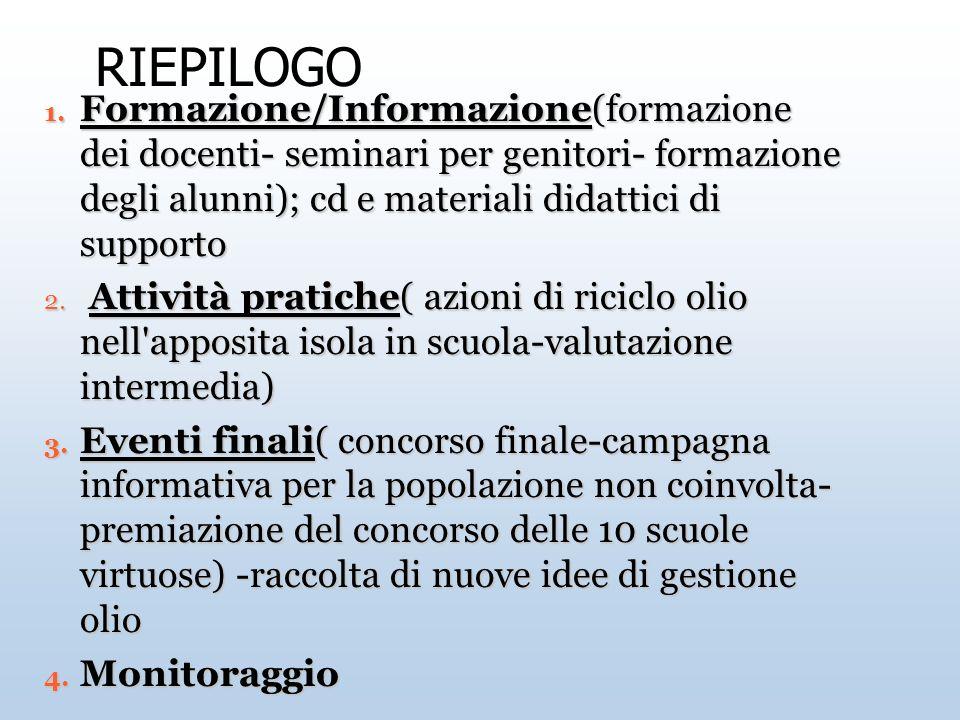 RIEPILOGO 1. Formazione/Informazione(formazione dei docenti- seminari per genitori- formazione degli alunni); cd e materiali didattici di supporto 2.