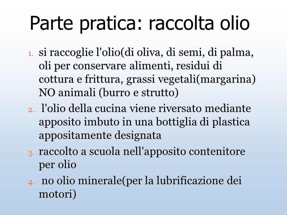 Parte pratica: raccolta olio 1. si raccoglie l'olio(di oliva, di semi, di palma, oli per conservare alimenti, residui di cottura e frittura, grassi ve