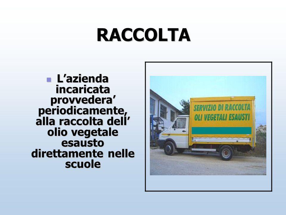 RACCOLTA Lazienda incaricata provvedera periodicamente, alla raccolta dell olio vegetale esausto direttamente nelle scuole Lazienda incaricata provved