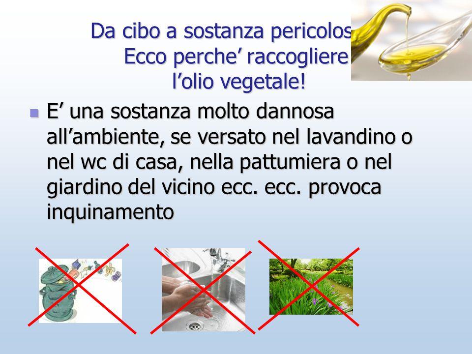 Da cibo a sostanza pericolosa… Ecco perche raccogliere lolio vegetale! E una sostanza molto dannosa allambiente, se versato nel lavandino o nel wc di