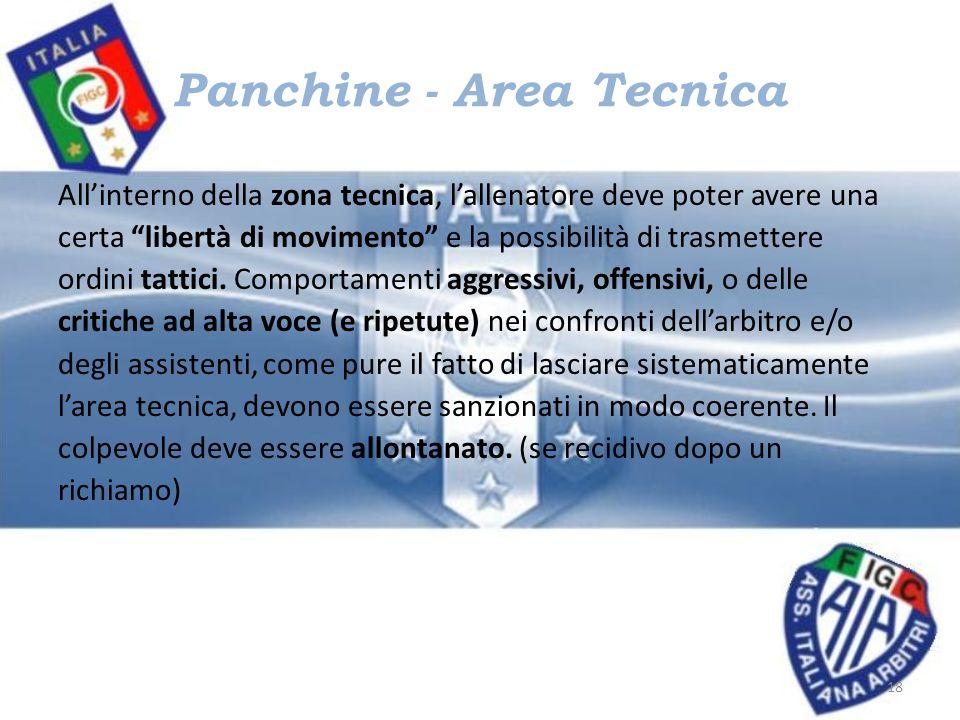 Panchine - Area Tecnica Allinterno della zona tecnica, lallenatore deve poter avere una certa libertà di movimento e la possibilità di trasmettere ord