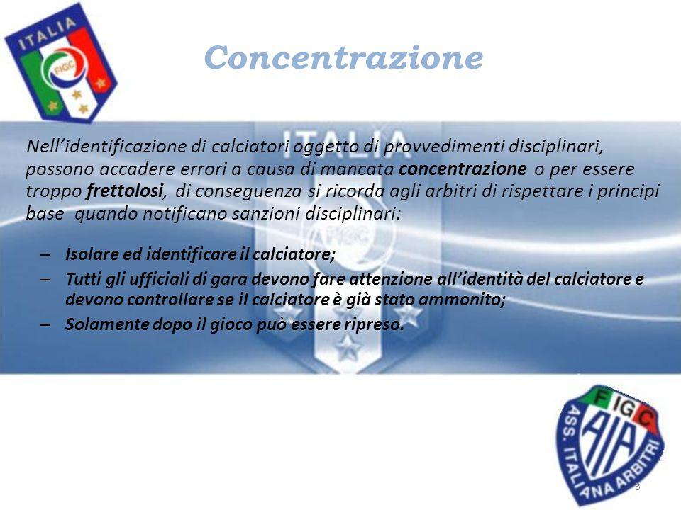 Concentrazione Nellidentificazione di calciatori oggetto di provvedimenti disciplinari, possono accadere errori a causa di mancata concentrazione o pe