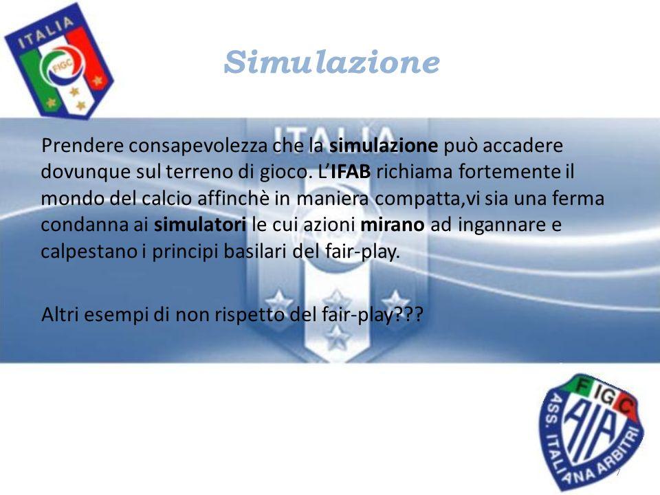 Simulazione Prendere consapevolezza che la simulazione può accadere dovunque sul terreno di gioco. LIFAB richiama fortemente il mondo del calcio affin
