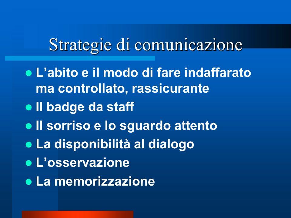 Strategie di comunicazione Labito e il modo di fare indaffarato ma controllato, rassicurante Il badge da staff Il sorriso e lo sguardo attento La disponibilità al dialogo Losservazione La memorizzazione