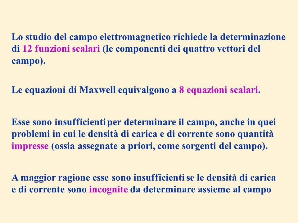 Lo studio del campo elettromagnetico richiede la determinazione di 12 funzioni scalari (le componenti dei quattro vettori del campo). Le equazioni di