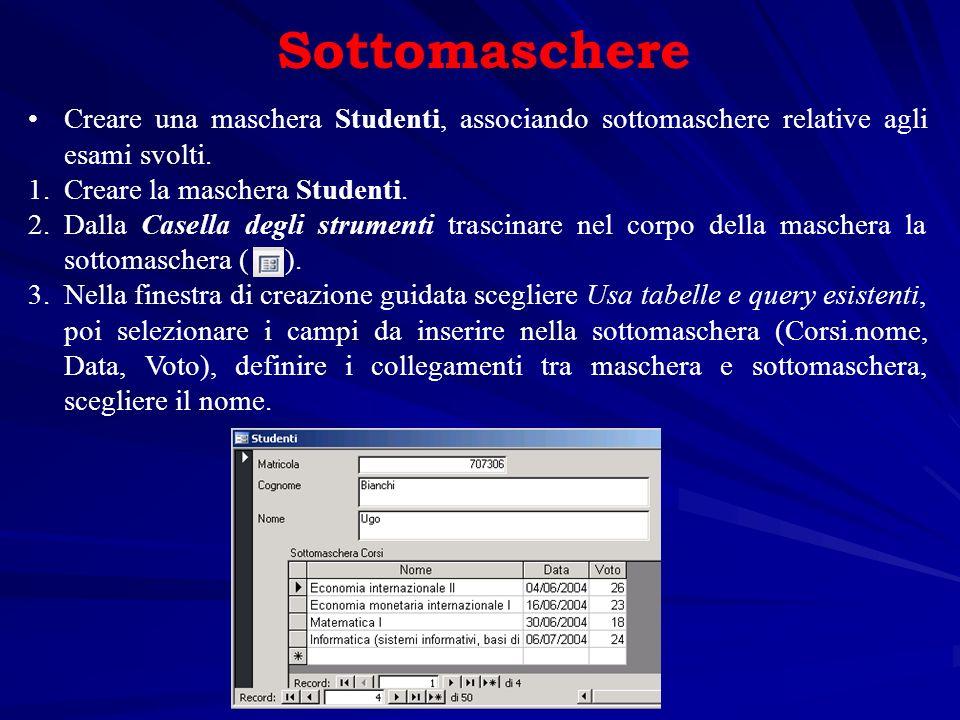 La stampa dei database Un Report è il miglior strumento per la stampa dei dati.